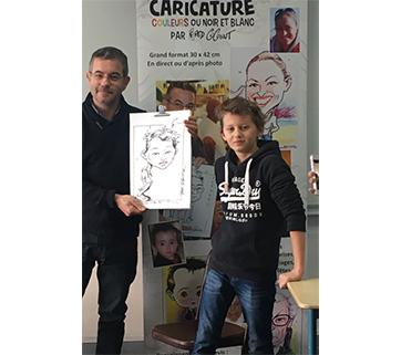 Animation caricature dans un collège. Paris février 2018